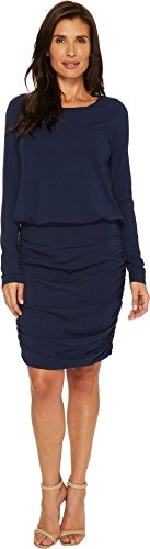 Jersey Spandex Skirt (Mod-O-Doc Women's Cotton Modal Spandex Jersey Long Sleeve Blouson Dress with Shirred Skirt True Navy X-Large)