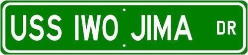 "USS IWO JIMA LHD 7 Street Sign - Navy Sticker Decal Wall Window Door Art Vinyl Street Signs - 22"" x 6"""