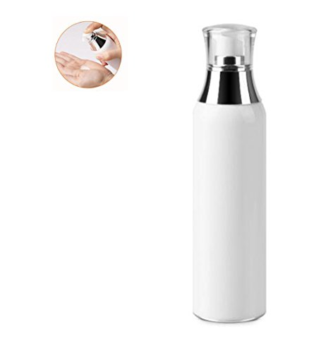 - 1Pcs White Acrylic Airless Pump Vacuum Bottles-Empty Portable Cosmetic Makeup Storage Containers Lotion Pump Bottle Cosmetic Toiletries Liquid Storage Containers(150ml/5oz)