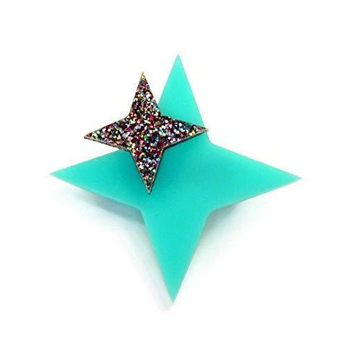 """Aqua Starburst Brooch, Retro Aqua and Rainbow Glitter Star Pin for Women, 2"""" x 2"""""""