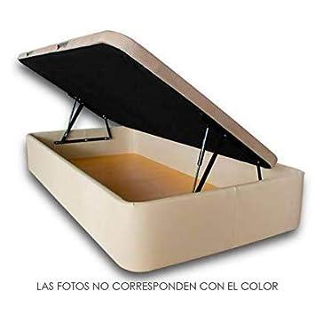 Ventadecolchones - Canapé Modelo Serena Gran Capacidad Apertura Lateral tapizado en Lugo Negro Medidas 90 x 190 cm: Amazon.es: Hogar