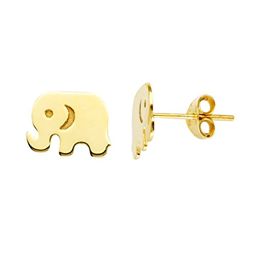 14k Yellow Gold Elephant Stud Earrings by AzureBella Jewelry
