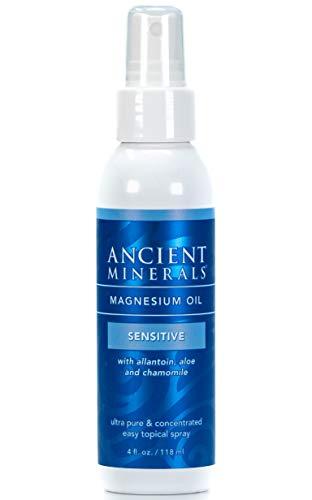Ancient Minerals Magnesium Oil Spray Sensitive - All-New Sensitive Formula with Allantoin, Organic Chamomile, and Organic Aloe Vera (4oz) Ancient Minerals Magnesium Oil