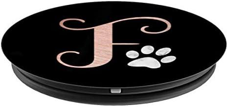 Amazon.com: Letra F oro rosa, mármol gato, perro paw ...