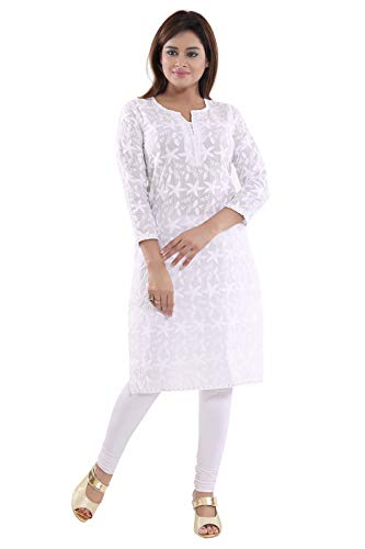 QueenShield Chikankari Kurtis for Women Cotton Chikan Kari Kurta Kurti Indian Dress for Girls Ladies - White (42-XL)