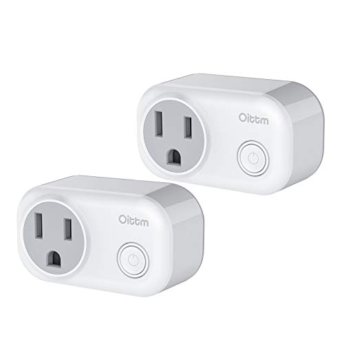 Smart Plug Mini, Oittm Wi-Fi Mini Socket Smart Plug-in Outlet Switch w/Energy Monitoring, Timing Function, Wireless Remote Control, Works with Amazon Alexa Google Assistant, No Hub Required (2-PACK)