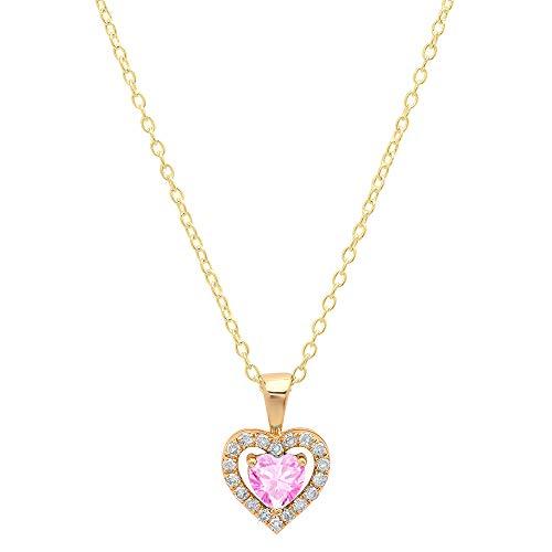 Dazzlingrock Collection 10K 5 MM Heart Created Pink Sapphire & Round Diamond Ladies Heart Pendant, Yellow Gold