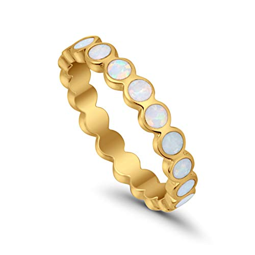 Blue Apple Co. 4mm Full Eternity Band Ring Round Ball Created White Opal Yellow Tone 925 Sterling Silver, Size - 10