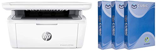 HP Laserjet Pro M30w Multi Function Wireless Laser Printer with Cubic A4 75gsm Copier Paper   500 Sheets, Pack of 3