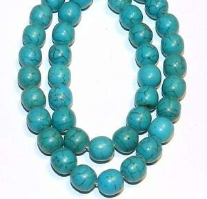 NG1072 Teal Blue-Green Turquoise 8mm Round Magnesite Gemstone Beads 16