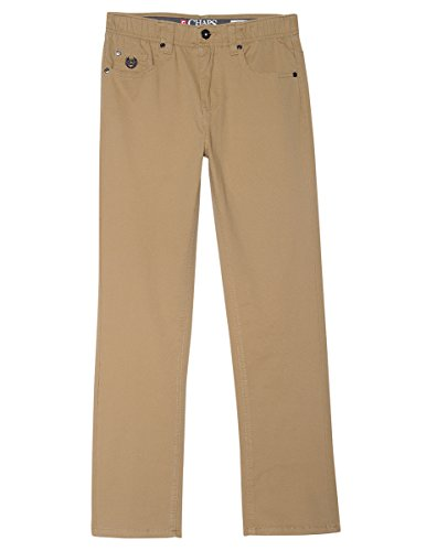 (Chaps Boys' Big Flat Front Twill Pant with Stretch, tan, 16)