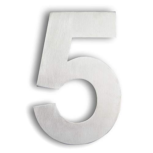 Mellewell Modern Floating House Numbers, Super Large 10 Inch, Stainless Steel 304 Brushed Nickel, Number 5 Five