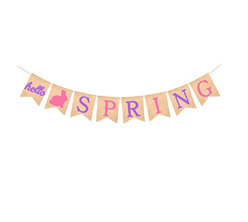 Hello Spring Banner Burlap Bunting Banners Garland for Celebrating of Spring -