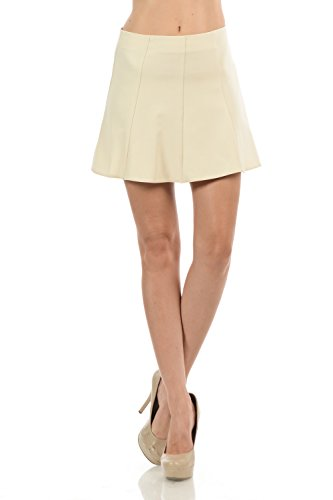 Maryclan Women's Basic Solid Color Pleated Mini Flare Skirt with Invisible Back Zipper (Small, Khaki) from Maryclan
