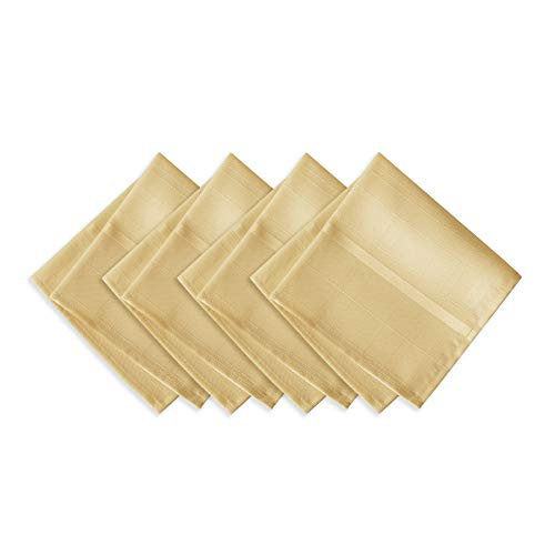 Newbridge Elegance Plaid Christmas Fabric Napkin Set, 100% Polyester, No Iron, Soil Resistant Holiday Napkins, Set of 4 Fabric Napkins, Ribbon Gold (Napkins Gold Fabric)