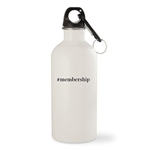 #membership - White Hashtag 20oz Stainless Steel Water Bottle with Carabiner