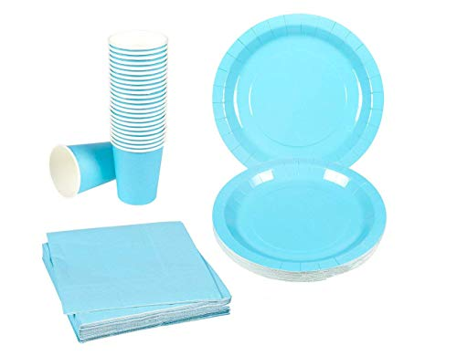 Disposable Dinnerware Set - 24-Set Paper Tableware - Dinner Party Supplies for 24 Guests, Including Paper Plates, Napkins and Cups, Turquoise