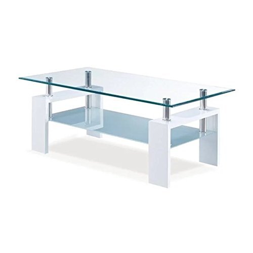 Global Furniture Clear/Frosted Occasional Coffee Table with Glossy White (Bedroom Contemporary Coffee Table)