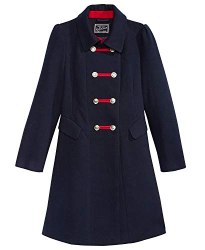 Rothschild Big Girls' Midnight Faux Wool Bandmaster Military Coat, Size 14