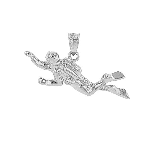 Solid 14k White Gold 3D Scuba Diver Diving Frogmen Charm (Solid Gold Sport Charm)
