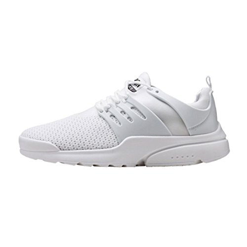 huichang Summer Men's Fashion Sneakers Breathable Mesh Running Shoes Lace-up Casual Shoes White