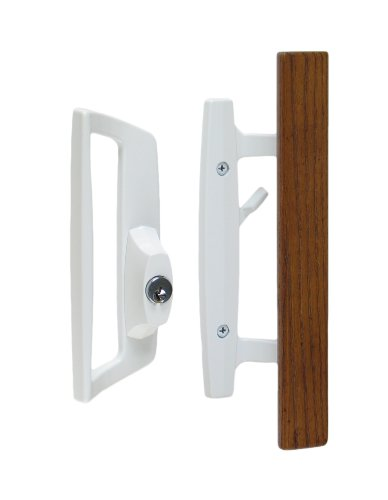 "Bali Nai Sliding Glass Door Handle Set with Oak Wood Pull in White Finish, Includes Key Cylinder, Standard 3-15/16"" CTC Screw Holes, 1-1/2"