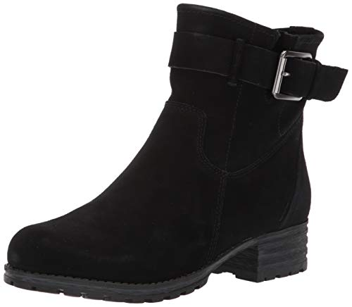 CLARKS Women's Marana Amber Fashion Boot, Black Suede, 060 M US Black Suede Buckled Ankle Bootie