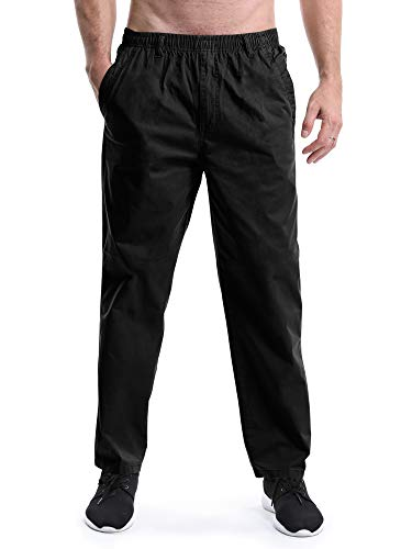 Men's Full Elastic Waist Lightweight Workwear Pull On Cargo Pants #04 Black Tag 2XL - US ()