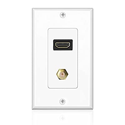 TNP HDMI + F Connector Wall Plate Face Cover Coaxial Combo Support 4K 60Hz HDR 1080P 3D Ethernet Wall Socket Plug Insert Jack Outlet Panel for HDTV Home Theater Cable Satellite PS4 & Nintendo Switch