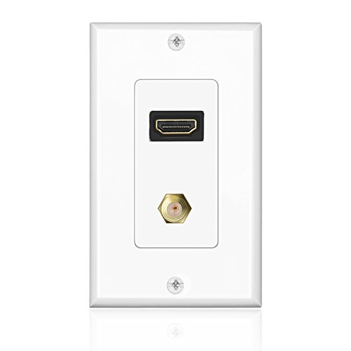 TNP HDMI + F Connector Wall Plate Face Cover Coaxial Combo Support 4K 60Hz Full HD HDR ARC Ethernet Pass-Thru Wall Port Socket Plug Insert Jack Outlet Panel for HDTV Home Theater Cable Satellite