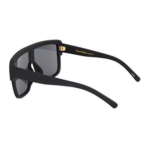ROYAL GIRL Premium Oversized Sunglasses Women Flat Top Square Frame Shield Fashion Glasses (Matte Black, 77) by ROYAL GIRL (Image #4)