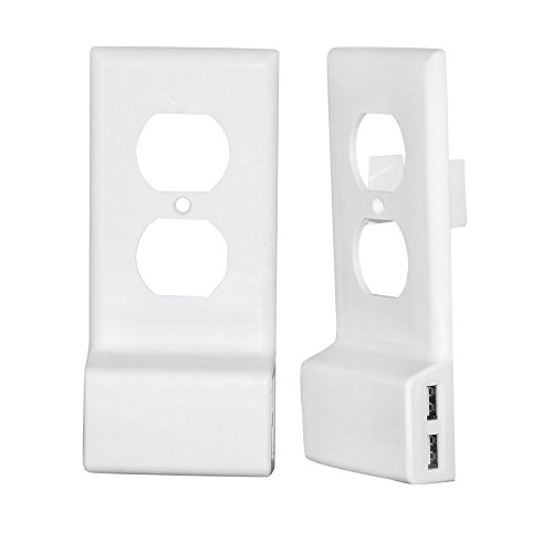 USB Charger Wall Plate by Soaring Phoenix | Snap-On Electrical Outlet Cover Replacement with Dual USB Quick Charging Ports for Cellphones, Tablets, Game Controllers and Bluetooth – (Duplex, White)