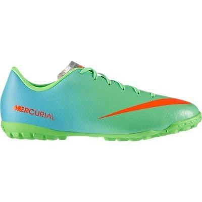 Nike Kids Jr Mercurial Victory IV Turf Soccer Shoe Neo Lime/Metallic Silver/Polarized Blue/Total Crimson Size 10C