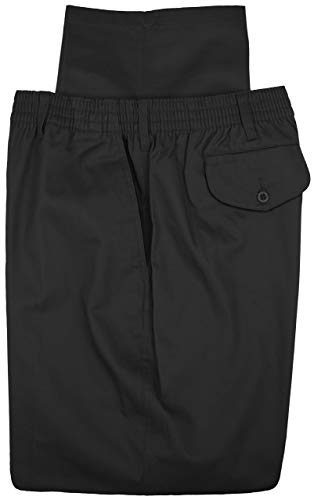 Bay Plus - Falcon Bay Big & Tall Men's Casual Twill Pants FULL ELASTIC Black 54 X 32