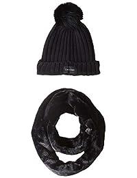 Calvin Klein - Conjunto de 2 piezas de piel sintética para mujer, color negro