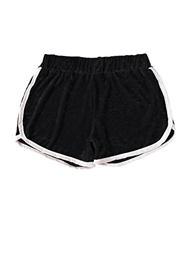 MakeMeChic Women's Dolphin Running Workout Shorts Yoga Shorts Black S (Shorts Vintage Striped)