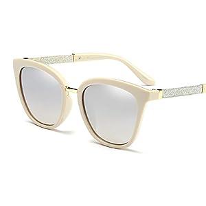 Butterfly Sunglasses Cateye for Women Bling Glitter Plastic Square Frame (Cream Silver, 51)