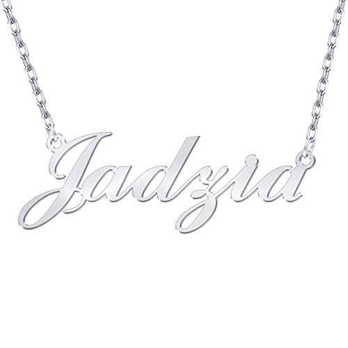 Yoke Style Custom Name Necklace Personalized, Sterling Silver Customized Charm Necklace Jewelry Gift for Women ()