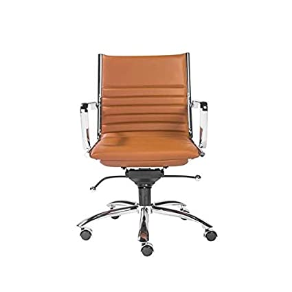 Fine Amazon Com Chrome And Cognac Leather Low Back Modern Creativecarmelina Interior Chair Design Creativecarmelinacom