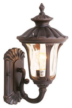 Oxford Womens Electrical - Livex Lighting 7650-58 Oxford 1 Light Imperial Bronze Cast Aluminum Wall Lantern with Light Amber Water Glass