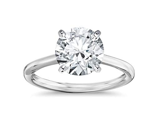Parade of Jewels 14K Solid White Gold 2.0 Carat Solitaire CZ Engagement Ring, Size 5
