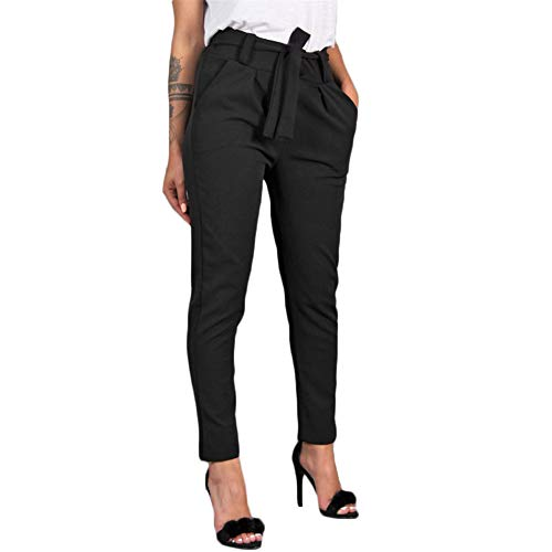 Belted Fashion - Kirbyates Women Fashion Solid Bow Tie Belted High Waist Harem Pants Women Bandage Elastic Waist Striped Casual Pants (Black, XL)