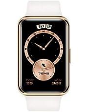 "HUAWEI Watch Fit Elegant Edition- Reloj Inteligente, Pantalla AMOLED 1.64"", 4GB, Bluetooth, Correa de Fluoroelastómero Blanco"