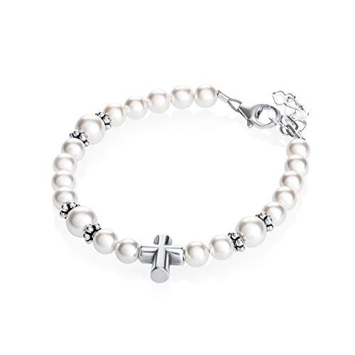 Baby Rosary Bracelet (Keepsake Sterling Silver Cross Bead Baptism Child Bracelet with Swarovski White Simulated Pearls)