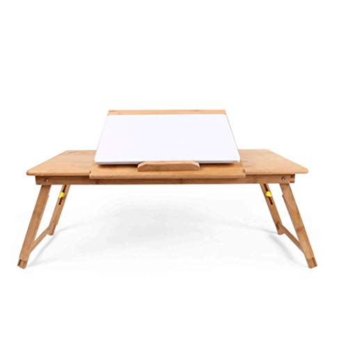ay,Computer, Notebook, Ipad, Book Holder & Stand, Breakfast Serving Bed Tray, Adjustable & Foldable with Flip Top and Drawer, 100% Bamboo ()