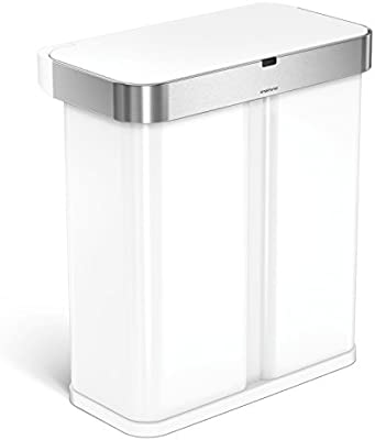 simplehuman 58 Liter / 15.3 Gallon Stainless Steel Touch-Free Dual  Compartment Rectangular Kitchen Trash Can Recycler with Voice and Motion  Sensor, ...