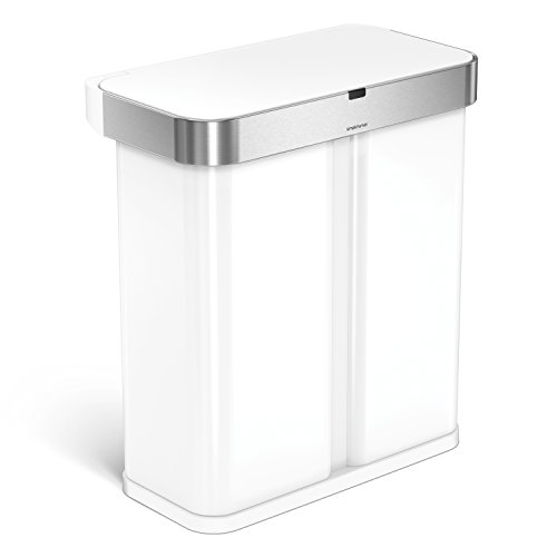 simplehuman 58 Liter / 15.3 Gallon Stainless Steel Touch-Free Dual Compartment Rectangular Kitchen Trash Can Recycler with Voice and Motion Sensor, Activated, White
