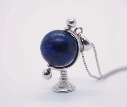 - Sterling Silver Globe Tellurion Celestial Lapis Lazuli Necklace