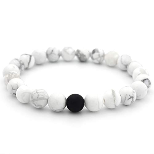 XBKPLO Men Women 8mm Lava Rock Double Beads Energy Yoga Elastic Natural Agate Frosted Black and White Bracelet Jewelry (White) ()