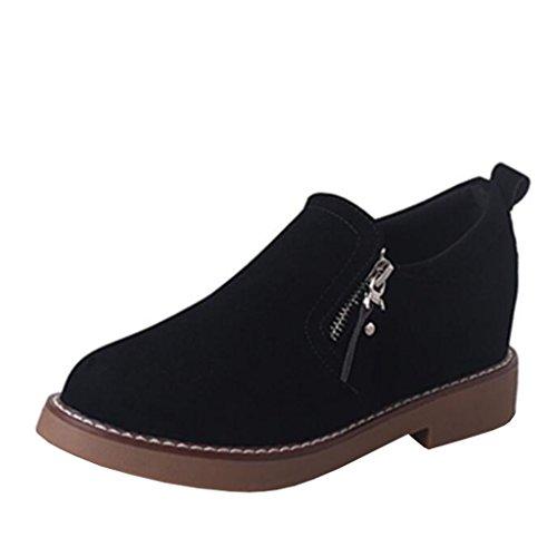 Binying Women's British Style Inner-Increaser Round-Toe Block Heel Zip Boots Black Yz6bk3
